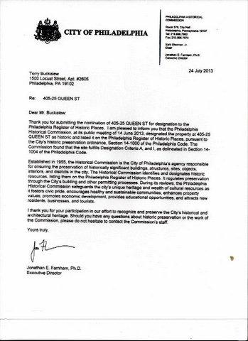 Commission Letter