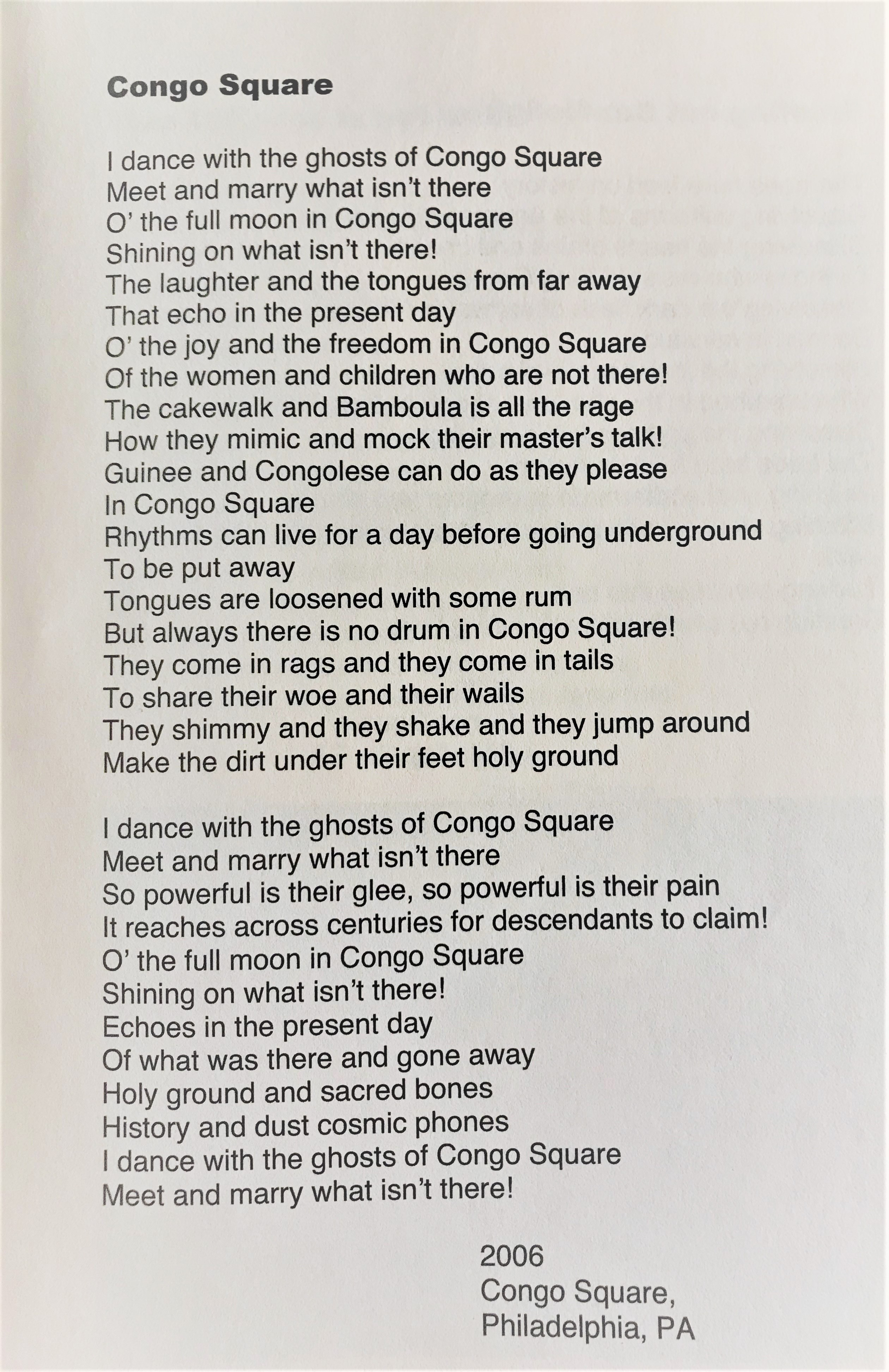 Congo Square poetry